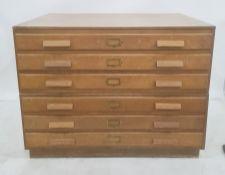 20th century oak six-drawer plan cheston plinth base, 114.5cm x 87cm Condition ReportThe height