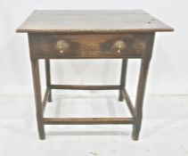 Possibly 18th century oak side table, the rectangular top with single drawer, chamfered legs and