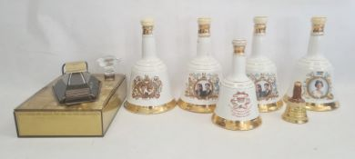 Assorted Bells shaped whisky bottles and a JM and F Martell Cordon Bleu bottle of cognac in
