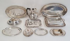 Various silver plated oval trays, rectangular entree dish and oval entree dish with gadrooned and