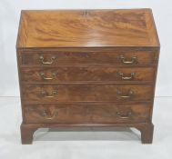 19th century mahogany bureau, the fall revealing fitted interior, four drawers, to bracket feet,