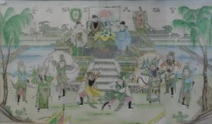 Chinese school Large print with wash Figures on a dais watching warriors in garden below, with