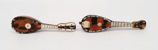 Two miniature tortoiseshell and mother of pearl inlaid mandolins (2)