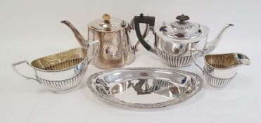 Silver plate to include teapot, dish, spoons etc and a pair of silver handled manicure tools and a