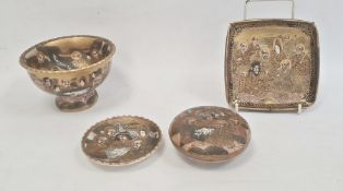 Japanese Satsuma earthenware stem bowl with everted rim and 'Thousand Faces' decoration on a gold