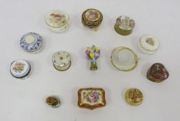 Assorted lidded pots to include blue and white example marked 'A Fumanti Gubbio', Ayshford Fine Bone