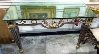 Modern bi-colour metal console table, the base with a frieze of geometric shapes and square tapering