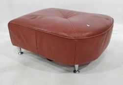 Red leather covered stool