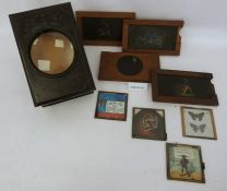 Magic lantern viewer and assorted slides to include mottos, etc
