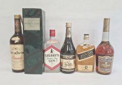 Assorted spirits etc to include half bottle Johnnie Walker Black Label, V.S. Fine Cognac Martell,
