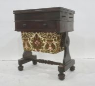 Victorian rosewood work tablewith hinged swivel top, over a single drawer and sewing basket