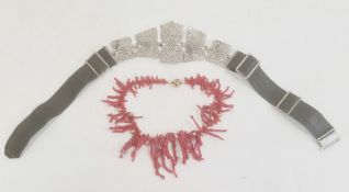Graduated coral and gilt metal necklace, boxed and silver-coloured metal and green leather belt, the
