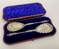 A pair of Victorian silver apostle spoons, London 1897, maker William Hutton & Sons Ltd, in fitted
