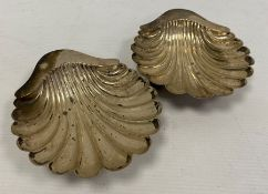 A pair late 19th century silver shell shaped trinket dishes, makerHorace Woodward & Co Ltd,