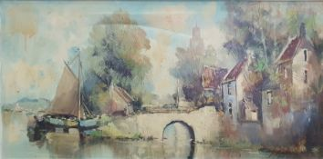 J. Rowland, 20th century Oil on canvas Continental river scene, signed lower right, 39 x 80cm