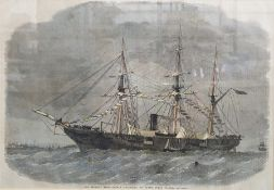 "After Smith Engraving ""The Federal sloop-of-war Tuscarora in Southampton Water"", 25 x 35cm"