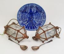 Blue and white platter and two lights and a pair of electroplated salad servers (4)