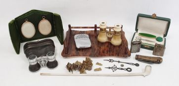 Assorted items to include clay pipe, opera glasses, lighters and a small bag of engraved brass