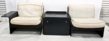 20th century designer modular pair of seats and coffee tablein black ash-effect finish (3 parts)