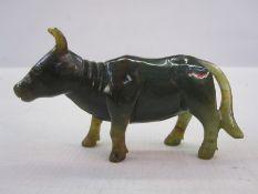 Green jade ox, 5.3cm high x 9.5cm long