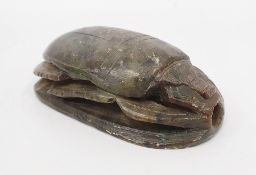 Egyptian carved hardstone scarab, 11cm wide