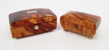 Two early 19th century miniature tortoiseshell caddy-shaped cachou boxes, both with silver wire