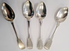 Set of four George III silver tablespoons, handles initialled 'Y', London 1815, makers WC, 4.5toz.