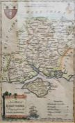 Coloured engraving New map of Hampshire Drawn from the Latest Authorities, 21 x 14cm
