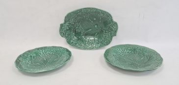 Pair 19th century Thomas Till green glazed majolica dessert plates and matching oval dish, 29cm wide