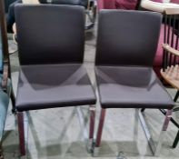 Pair of modern office chairsin leatherette upholstered seat and back, chrome bases (2)