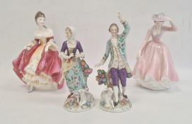 Capodimonte figures of shepherd and shepherdess, 19cm high, Royal Doulton figure 'Southern Belle'