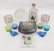 Assorted glassware to include glass ball with bubble decoration, Holmgaard decanter and two