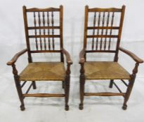 Six similar (4+2) bobbin back chairswith rush seats (6) Condition ReportAll chairs have numerous
