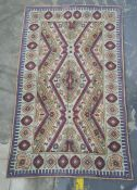 Kashmiri handstitched wool chain rug, 150 x 91cm
