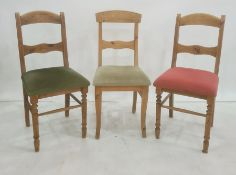 Harlequin set of eight pine bar back chairs with two designs of carved decoration (8) Condition