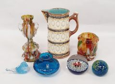 Assorted glassware to include paperweight, squat vase, further vase, Wedgwood majolica jug marked '