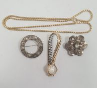 Two silver brooches, gold-coloured chain necklaceand UTI rolled gold lady's wristwatch and