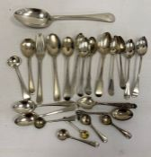 Assorted silver teaspoons, salt spoons, a silver plated tablespoonand a fork, 11.5toz. approx. in