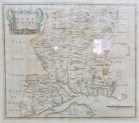 After Robert Morden Hand coloured engraving Hampshire together with  One further modern map of