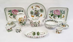 Two Portmeirion rectangular casserole dishes, teapot, circular dish, six coffee cups and saucers and