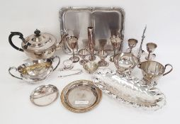 Silver plated three-piece tea set, pair of silver plated goblets, silver plated two-handled sugar