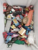 Assorted child's vintage die-cast cars, wooden bricks and some Lego, etc (1 box)