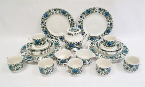 1960's/70's Midwinter pottery part dinner and tea service, blue and green floral decorated