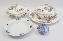 Pair Wedgwood porcelain tureens and covers with matching oval meat dish 'Charnwood' pattern, small