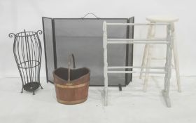 Painted stool, wooden bucket with copper swing handle and copper bands, modern umbrella stand,