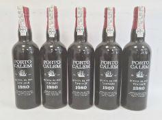 Five bottles of 1980 Porto Calem Quinta da Foz, produced and bottled by A A Calem & Filho, Lta,