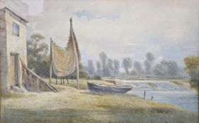Watercolour Fisherman's cottage by a river, signed and dated 1871 lower right, 22 x 35cm together
