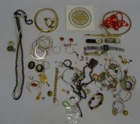 Collection of costume jewellery including bead necklaces, simulated pearls, Casio digital