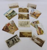 Box of assorted postcards and ephemera including pencil sketches and maps