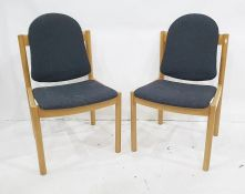 Set of four modern Ercol Furniture chairs with beech frames, black upholstered seats and backs (4)